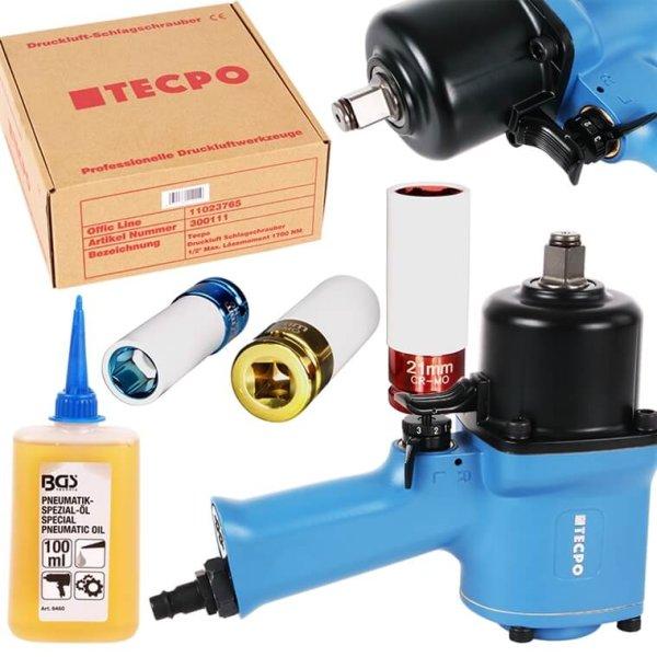 TECPO Druckluft Schlagschrauber 1700 NM 1/2 Zoll + Steckschlüssel 17-19-21 mm + Öle
