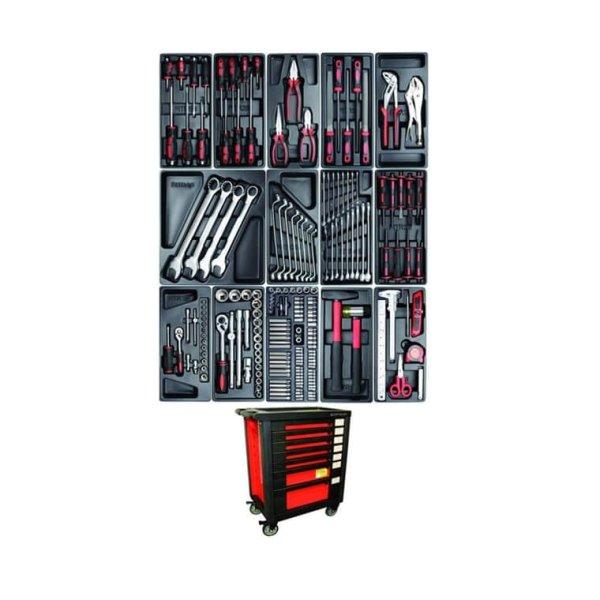 Werkstattwagen KRAFTMANN, 7 Schubladen, 185 Werkzeug